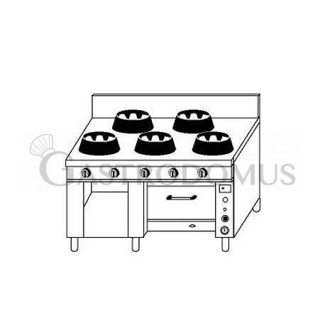 Cucina cinese 5 fuochi con forno a gas for Cucina 5 fuochi