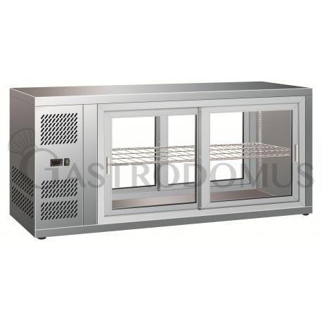 Vetrinetta refrigerata ventilata acciaio inox 18/10 cap.150Lt con porte scorrevoli