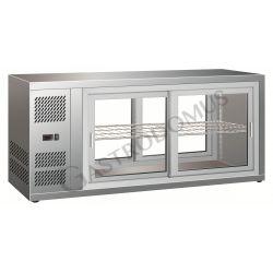 Vetrinetta refrigerata ventilata in acciaio inox con porte scorrevoli - Capacità 190 Litri - Temp. +2°C/+8°C