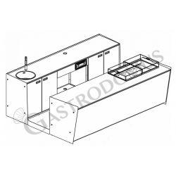 Banco bar + Retrobanco Lunghezza 3metri Drop-in Plexiglass