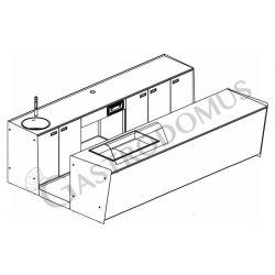 Banco bar + Retrobanco Lunghezza 3,5metri Drop-in Destro vetro curvo