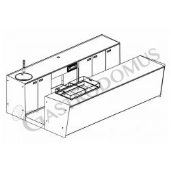 Banco bar + Retrobanco Lunghezza 3,5metri Drop-in Destro Plexiglass