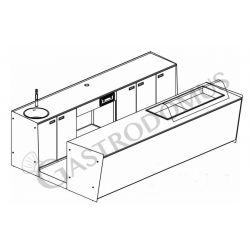 Banco bar + Retrobanco Lunghezza 3,5metri Drop-in Sinistro vetro curvo