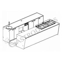 Banco bar + Retrobanco Lunghezza 3,5metri Drop-in Sinistro Plexiglass