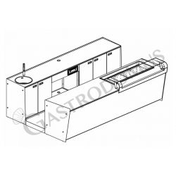 Banco bar + Retrobanco Lunghezza 3,5metri Drop-in Sinistro Vetro Supporto