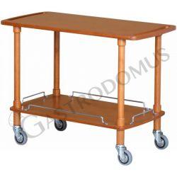 Carrello di servizio in legno tinto noce con 2 ripiani, L 1100 mm x P 550 mm x H 820 mm