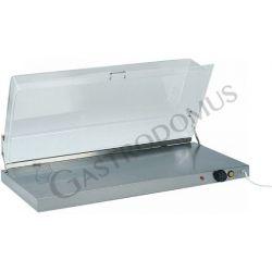 Piano caldo in inox con coperchio in plexiglass L 90 cm x P 45 cm x H 20 cm