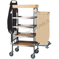 Carrello portabiancheria 4 piani in acciaio inox e piani in laminato L 820 mm x P 500 mm x 1580 mm