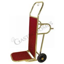 Carrello portavalige in acciaio ottonato con piedi di appoggio