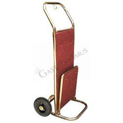 Carrello portavalige in acciaio ottonato a due ruote