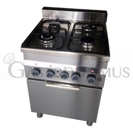 Cucina gas 4 fuochi potenziata forno elettrico a Convenzione GN 2/3