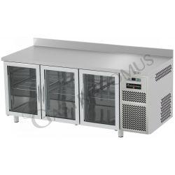 Tavolo refrigerato 3 porte vetro piano in acciaio inox e alzatina prof.600 TN
