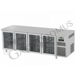 Tavolo refrigerato 4 porte vetro piano in acciaio inox prof.600 TN