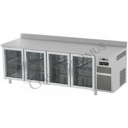 Tavolo refrigerato 4 porte vetro piano in acciaio inox e alzatina prof.600 TN