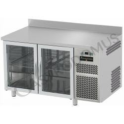 Tavolo refrigerato 2 porte vetro piano in acciaio inox e alzatina prof.700 TN