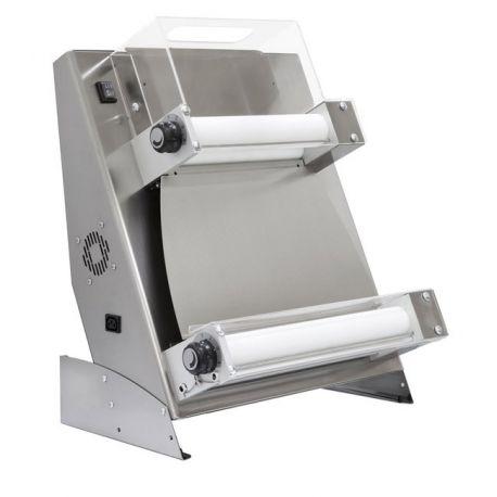 Stendipizza in inox con rulli paralleli in PEHD per pizza diam. 26/45 cm e pedale elettrico