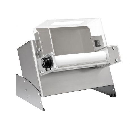 Stendipizza in inox meccanico con monorullo in PEHD per per pizza diametro 14/30 cm e pedale elettrico