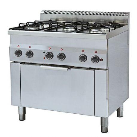 Cucina a gas 5 fuochi forno elettrico a convenzione GN 1/1