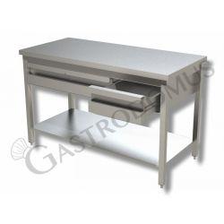 Tavolo inox prof. 600 lungh. 1000 con piano e 2 cassetti