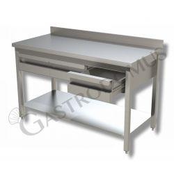 Tavolo inox prof. 600 con piano, alzatina e 2 cassetti