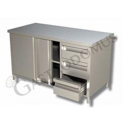 Tavolo con porte scorrevoli, Prof. 600, Lungh. 1500, 3 cassetti DX