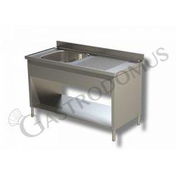 Lavello su fianchi, 1 vasca e gocciolatoio DX, Prof. 600, Lungh. 1000