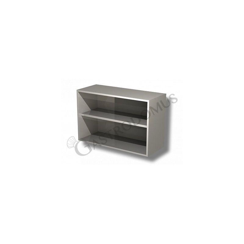 Pensile a giorno in acciaio inox con 1 ripiano, L 1600 mm x P 400 mm x H 650 mm