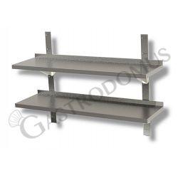Ripiano in acciaio inox doppio, L 800 mm x P 300 mm x H 700 mm