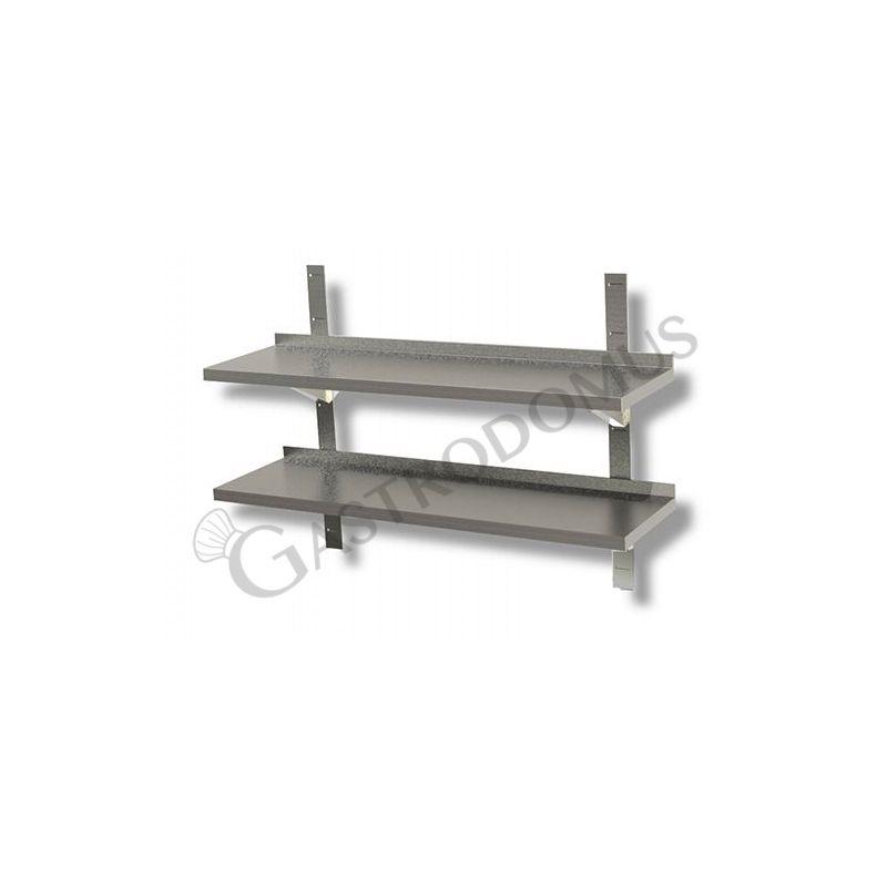 Ripiano in acciaio inox doppio, L 1000 mm x P 300 mm x H 700 mm