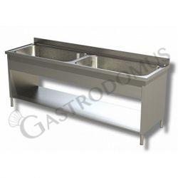 Lavatoio su fianchi ripiano 2 vasche, Prof. 600 Lungh. 1600