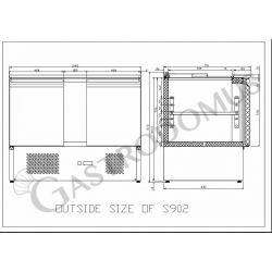 Saladette refrigerazione statica - predisposta per 3 bacinelle - capacità 275 LT