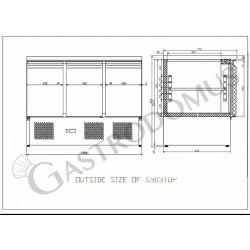 Saladette refrigerazione statica - 3 porte - piano in inox