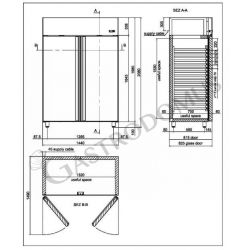 Armadio refrigerato 1400 Lt. temp. 0/+10° 2 porte vetro