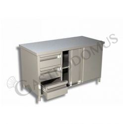 Tavolo con porte scorrevoli, Prof. 600, Lungh. 1600, 3 cassetti SX