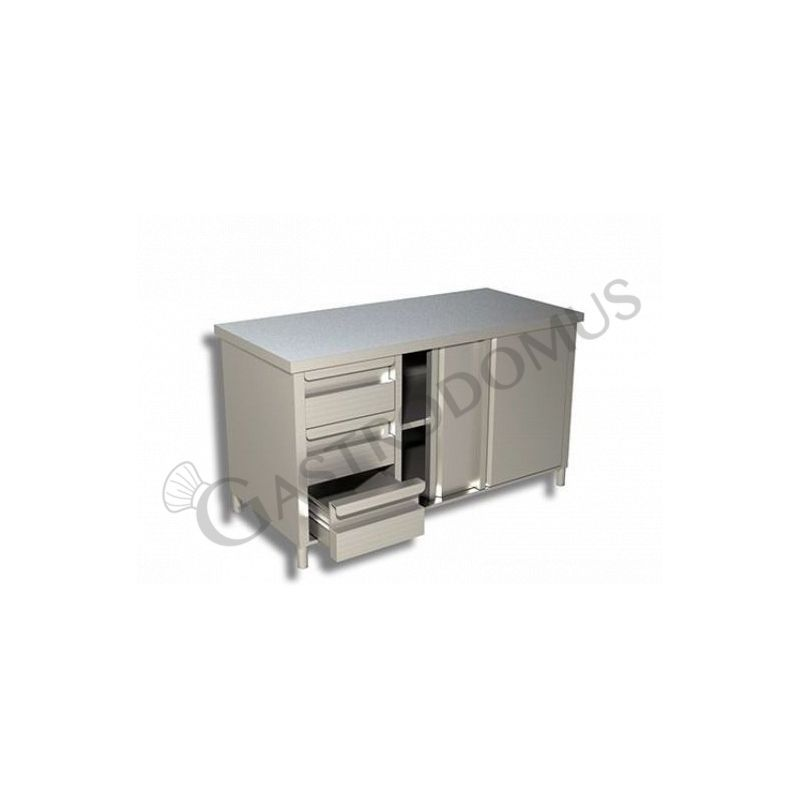 Tavolo con porte scorrevoli, Prof. 700, Lungh. 2400, 3 cassetti SX