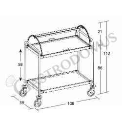 Scheda tecnica carrello di servizio simil legno 2 piani con cupola - L 1080 mm x P 590 mm x H 1120 mm