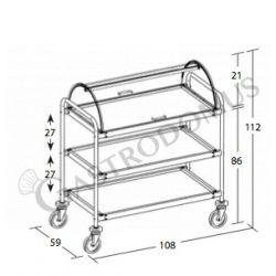 Scheda tecnica carrello di servizio in acciaio inox 3 piani con cupola - L 1080 mm x P 590 mm x H 1120 mm