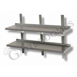 Ripiano in acciaio inox doppio, L 1800 mm x P 300 mm x H 700 mm