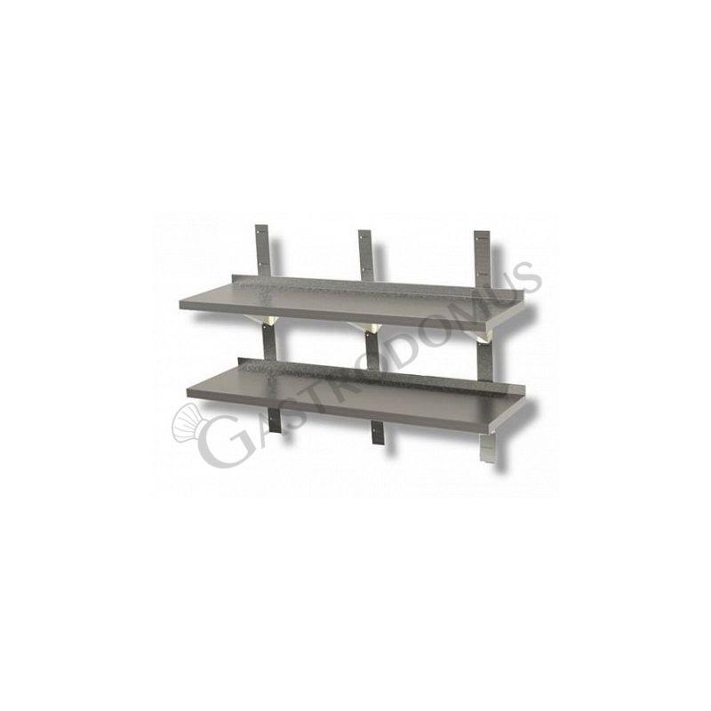Mensola in acciaio inox doppia, L 1800 mm x P 400 mm x H 700 mm