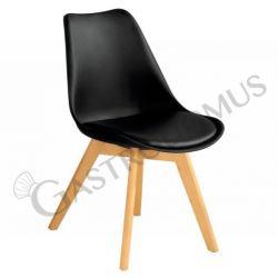Sedia Duck con struttura in legno, seduta e schienale in polipropilene e cuscino in ecopelle