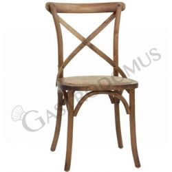 Sedia Primula con struttura in legno e seduta in rattan