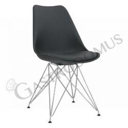 Sedia Lerika con struttura in metallo cromato, seduta e schienale in polipropilene, cuscino in ecopelle