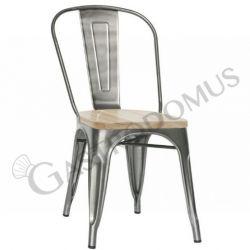 Sedia Linux con struttura e schienale in metallo verniciato e vernice trasparente e seduta in legno