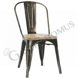 Sedia Rose con struttura e schienale in metallo verniciato effetto anticato e seduta in legno