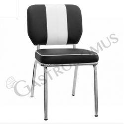Sedia Happidays con struttura in metallo cromato, seduta e schienale in ecopelle