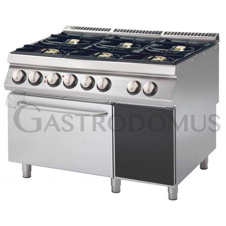 Cucina a gas - 6 fuochi - forno statico - bacinelle smaltate - armadio neutro
