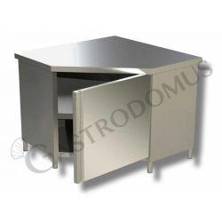Tavolo armadiato a angolo in acciaio inox con porta battente e profondità 700 mm