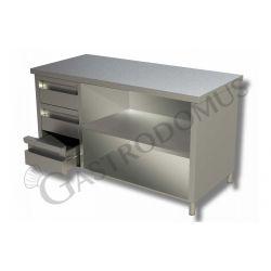 Tavolo a giorno in acciaio inox con 3 cassetti sul lato sinistro, L 1400 mm x P 700 mm x H 850 mm