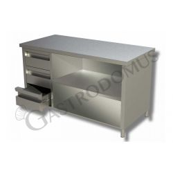 Tavolo a giorno in acciaio inox con 3 cassetti sul lato sinistro, L 2400 mm x P 700 mm x H 850 mm