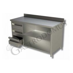 Tavolo a giorno in acciaio inox,3 cassetti a sinistra, alzatina, L 1400 mm x P 700 mm x H 850 mm